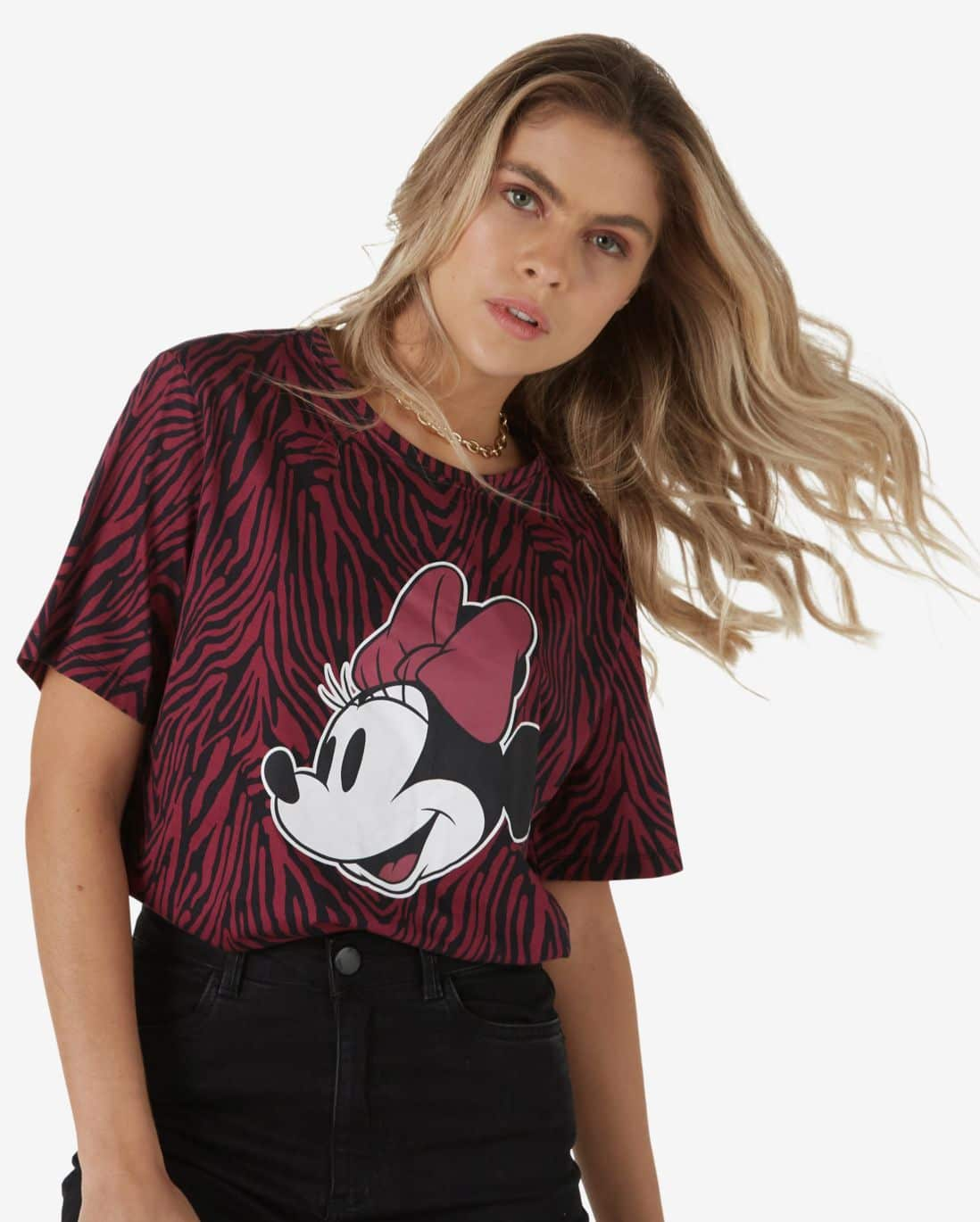 Blusa Alongada Zebra Minnie - Rosa