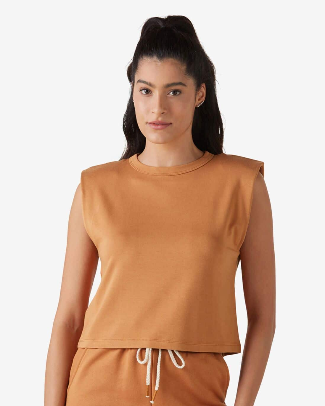Blusa Cropped Muscle Tee Marrom Caramelo