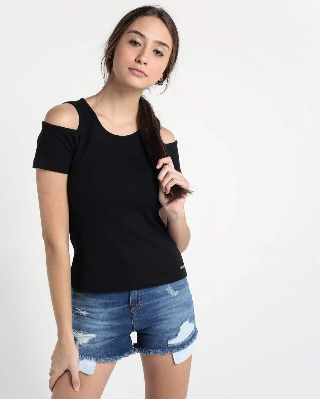 Blusa Open Shoulder Básica - Preto