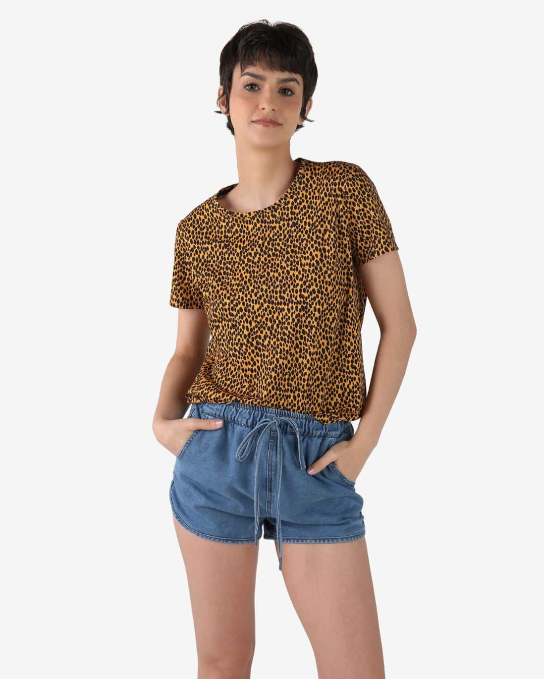Camiseta Animal Print - Amarelo/Preto