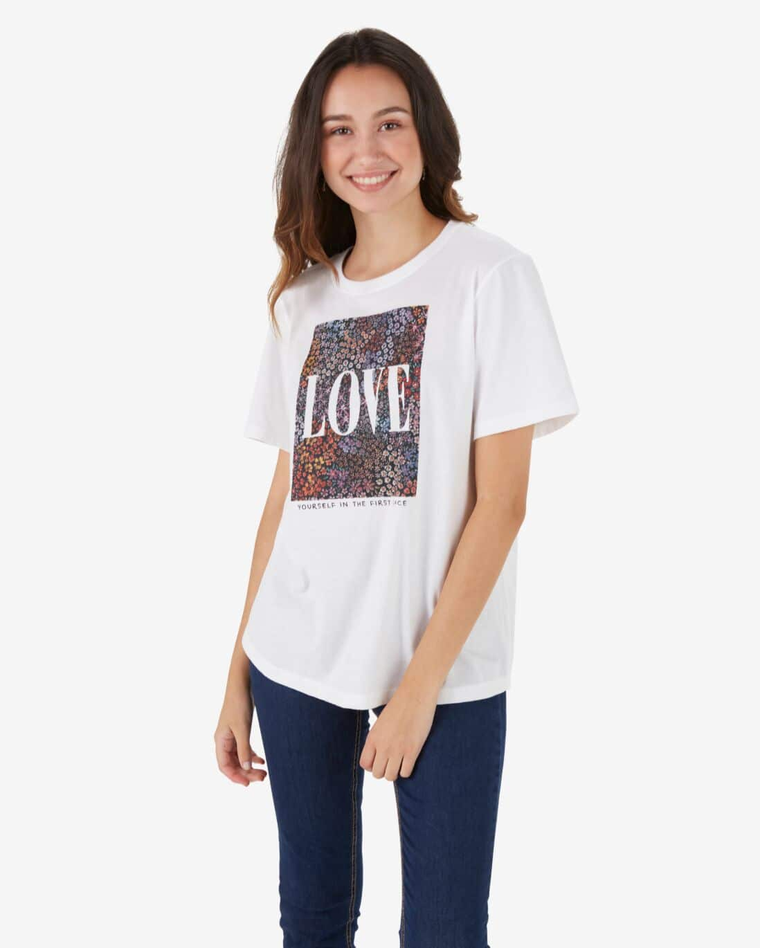 Camiseta Juvenil Alongada Manga Curta Love - Branco