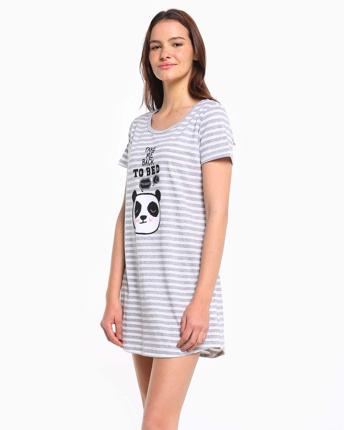 Camisola Malha Take Me Back To Bed Lilly - Branco/Cinza