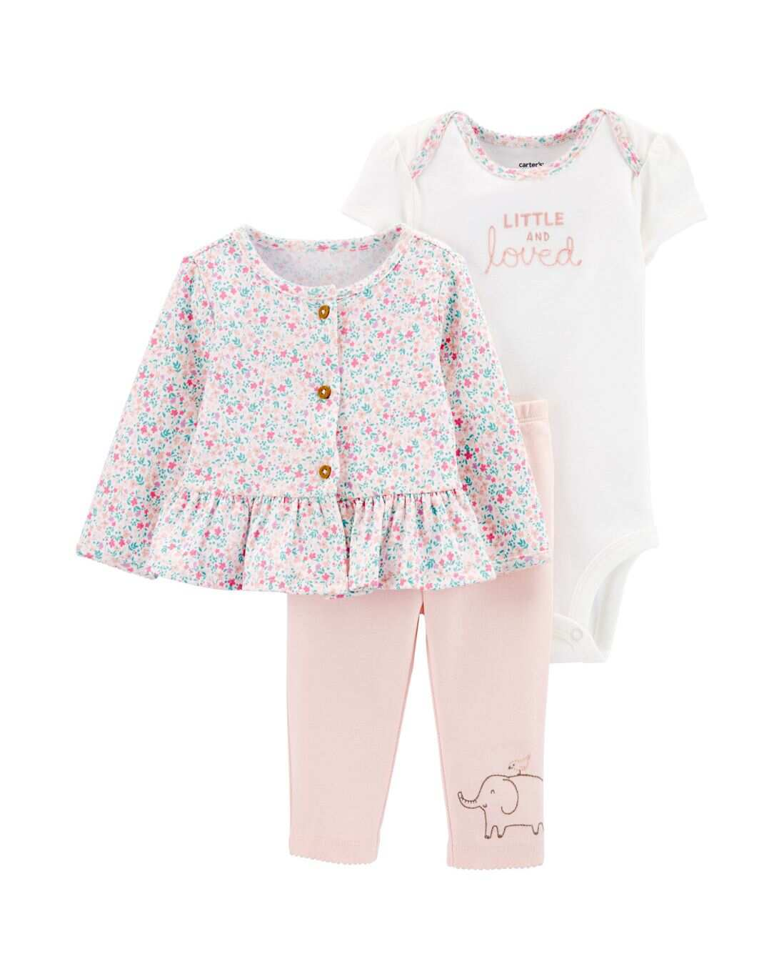 Conjunto 3 Peças Little And Loved Carter's - Rosa