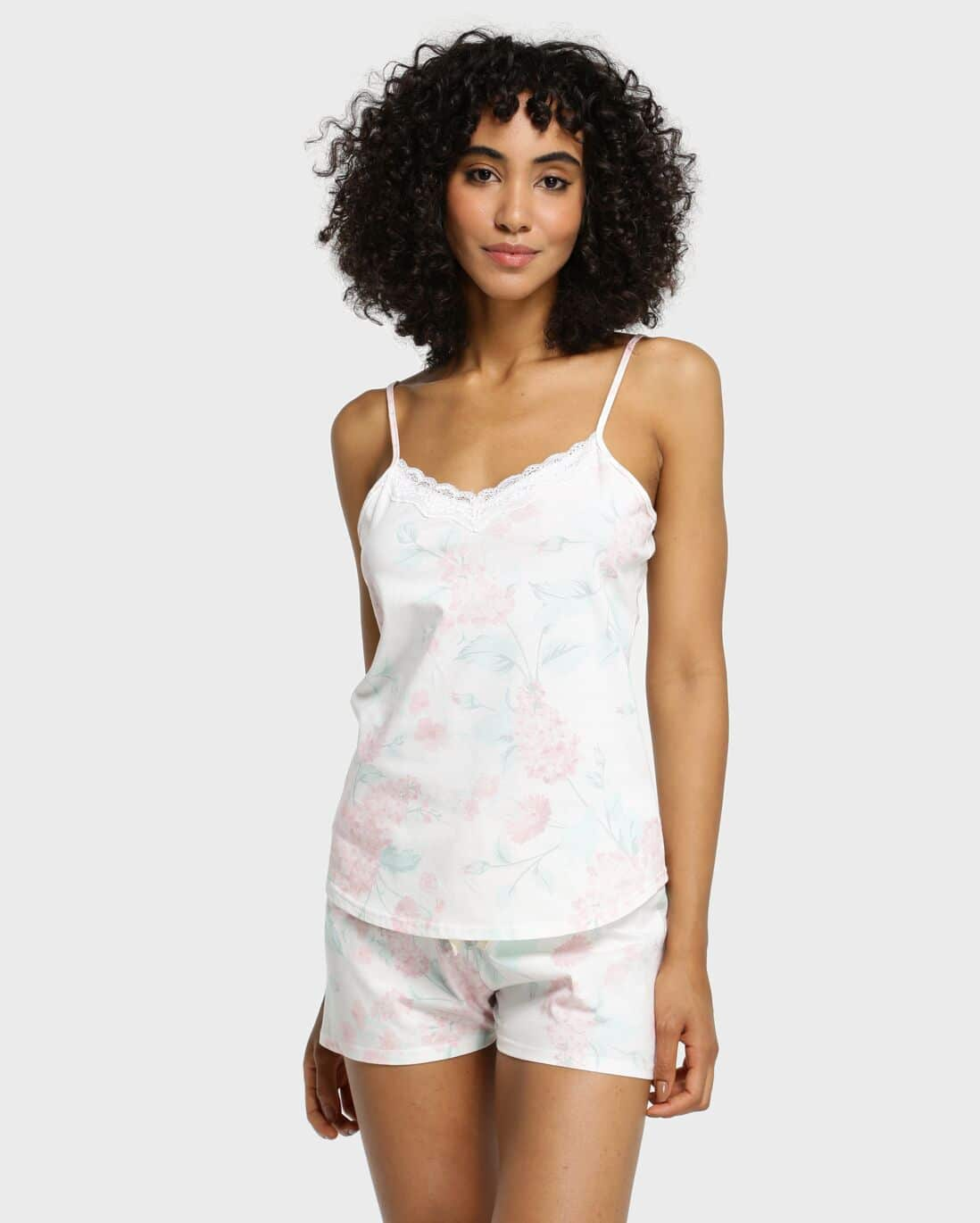 Pijama Short Doll Floral Lilly - Off White