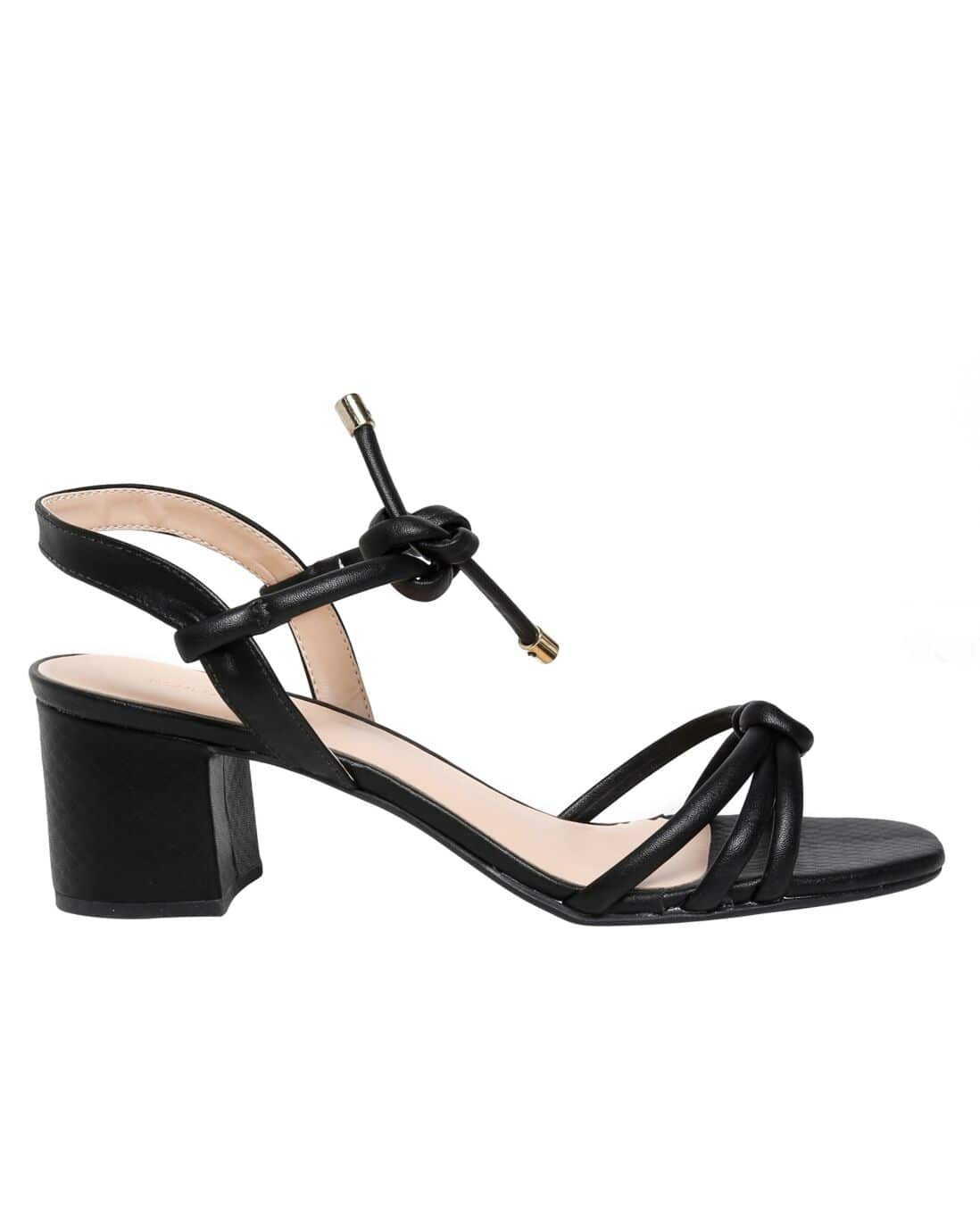 Sandália Baixa Lace Up Salto Bloco RCHLO Shoes - Preto