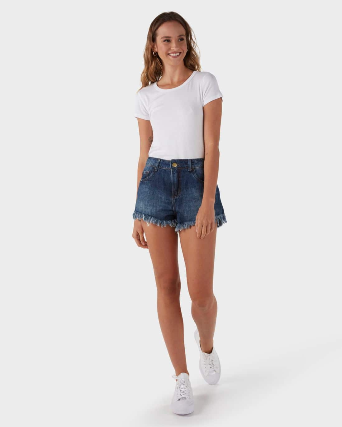 Short Jeans Hot Pants - Denim Médio