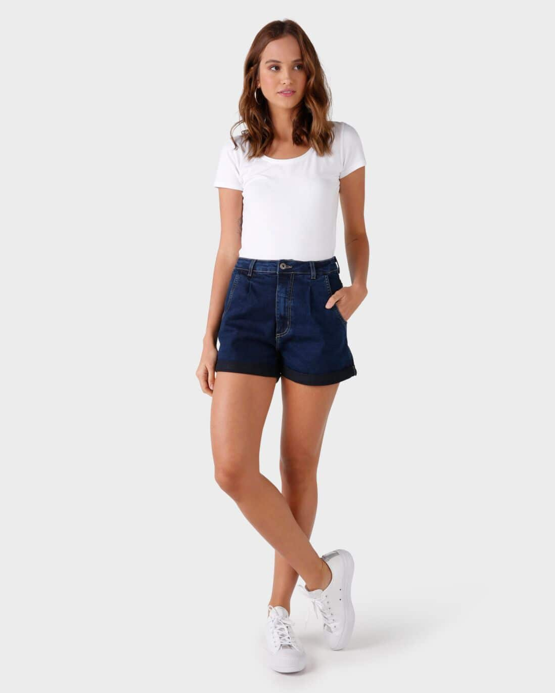 Short Jeans Mom Pregas - Denim Escuro