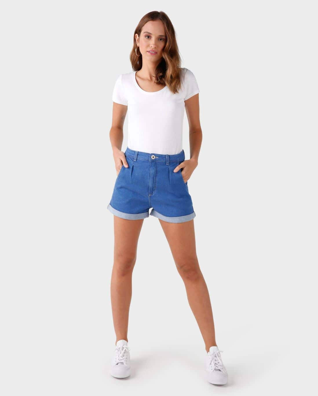 Short Jeans Mom Pregas - Denim Médio