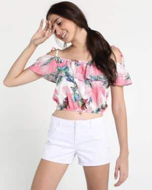 blusa open shoulder floral foto: still